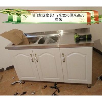 不銹鋼臺面簡易櫥柜廚房灶臺柜水柜洗菜洗碗柜餐邊柜碗柜經濟型 3右盆 雙