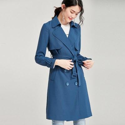 欧昵雪英伦通勤双排扣中长款风衣外套女长袖
