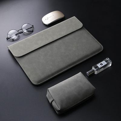 華為MateBook 13筆記本內膽包銳龍版保護套2020款時尚皮套防潑水收納袋D 【D14】橫款灰色皮套(送電源袋)