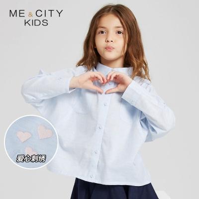 【1件3折价:54】米喜迪mecity童装19新款女童衬衫秋装蝙蝠袖翻领长袖衬衫