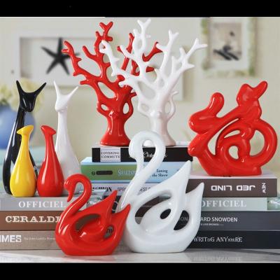 米魁创意现代陶瓷工艺礼品客厅电视酒柜家居小饰品摆设发财树装饰摆件 红苹果