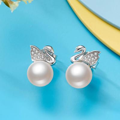 佰色傳情(BRIR) S925銀鑲淡水珍珠耳飾銀耳飾天鵝