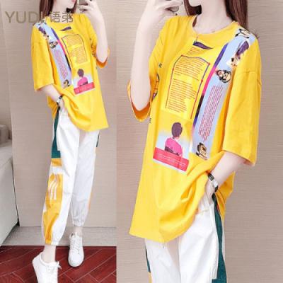 YUDI語弟夏季新款運動套裝女2020韓版寬松時尚洋氣半袖長褲休閑兩件套