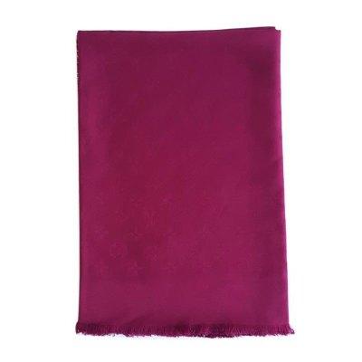 【正品二手99新】路易威登(LV)女士紫紅色老花絲巾披肩 M75513 奢侈品