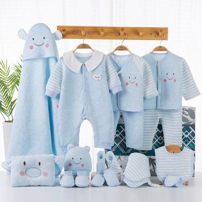 班杰威爾Banjvall初生秋冬季棉衣服 18件寶寶出生禮盒套裝嬰兒衣服秋冬用品剛出生初生滿月禮物寶寶大全兒童內衣禮盒