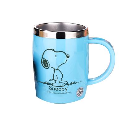 史努比(SNOOPY)带手柄不锈钢办公保温杯水杯420ML可爱杯子情侣杯 DP-5002