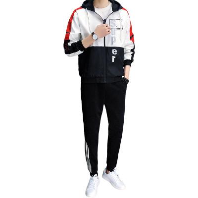 [夾克+褲子]套裝夾克男外套工裝褲休閑褲春季春裝新款修身連帽男士外套服裝男裝