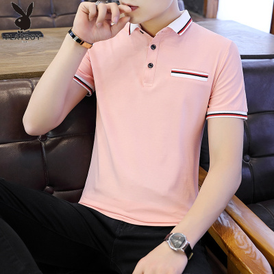 花花公子 ( PLAYBOY ICON )夏季Polo衫男短袖T恤男翻領襯衫領刺繡半袖精神小伙粉色上衣男
