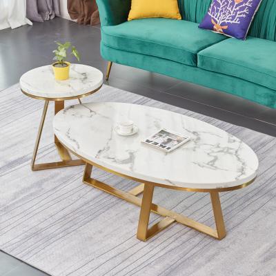 花千紫北歐輕奢大理石茶幾簡約現代風格客廳小戶型創意橢圓形不銹鋼桌子