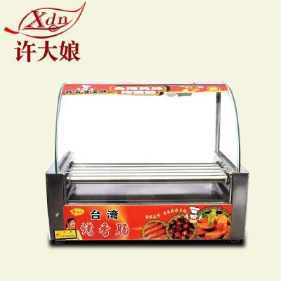 許大娘(Xdn)烤腸機10臺灣香腸機全自動雙溫控熱狗機小型商用帶照明 7管-烤腸機(不帶門)