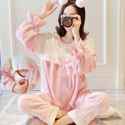 冬季月子服加厚法兰绒孕妇睡衣产后哺乳衣家居服喂奶衣威珺