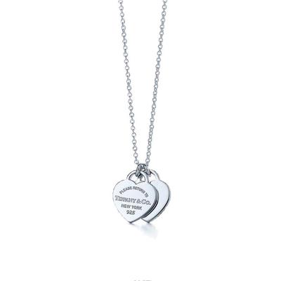 Tiffany&Co.:蒂芙尼经典款银色双心银项链S925银