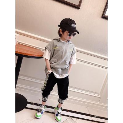 兒童潮款衛衣馬甲2020春裝新款中大童港風連帽背心男童洋氣上衣威珺