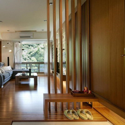 新中式原木屏風木條隔斷原木方屏風柱子隔斷入戶玄關木條裝飾客廳隔斷屏風隔斷格柵鏤空屏風隔斷中式座屏
