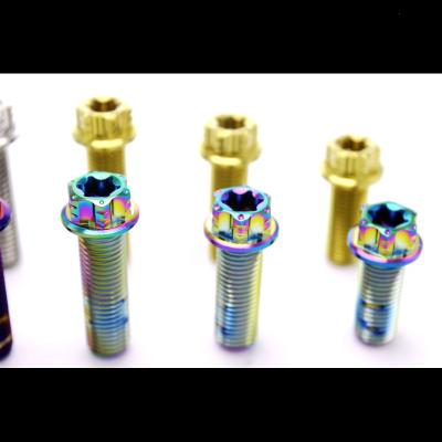 Cos.Ti_M10X25X30X35_P1.25_P1.5內外梅花閃電客法蘭螺栓 M10X35 P1.5金色