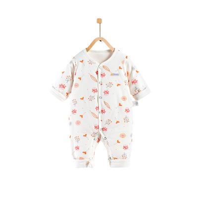 童泰TONGTAI嬰童棉服秋冬嬰幼兒純棉對開薄棉連體衣0-2歲寶寶哈衣連身衣兒童通用90cm