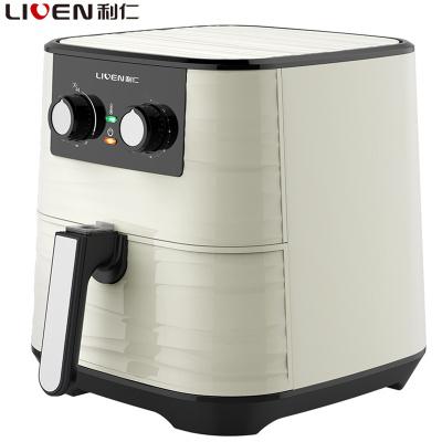 利仁(Liven)空氣炸鍋KZ-J5502電烤爐5.5L大容量白色紋理外觀旋鈕控溫控時不粘涂層內鍋易清洗