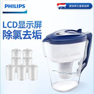 飛利浦 凈水壺家用除氯凈水器廚房自來水過濾器濾水壺凈水杯WP2807 (一壺一芯)