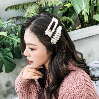 海瞳 新款 淡水珍珠發夾 一字夾 網紅真珍珠發飾 發夾對夾花朵時尚甜美 公主珍珠頭發飾品 女