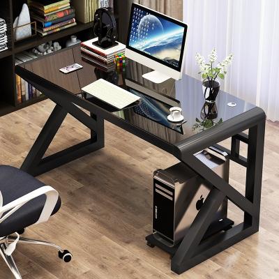 電腦臺式桌家用簡約現代經濟型書桌古達簡易多功能鋼化玻璃電腦桌學習桌子