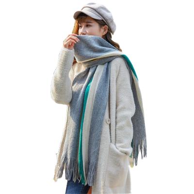 韓版情侶圍巾圍脖男女款冬季長款流蘇百搭加厚混色保暖圍巾 圍脖簡約臻依緣