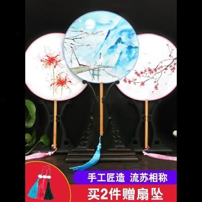 古风团扇女式汉服中国风古代扇子复古典圆扇长柄装饰舞蹈随身流苏 军绿色