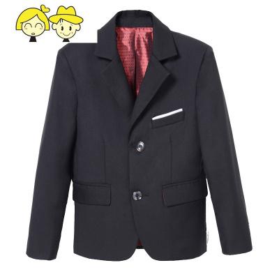 儿童西服男小西装套装三件套演出服装男童西装中大童黑色花童礼服
