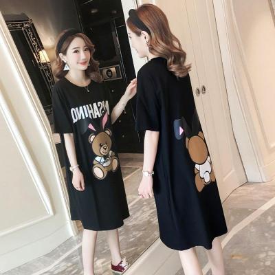 情嬌婷(QINGJIAOTING)韓版卡通小熊印花閨蜜裝黑色體恤連衣裙寬松大碼長款短袖T恤裙女