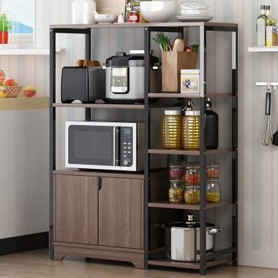 西利尹 厨房置物架落地多层收纳架多功能调味品置物架微波炉架子
