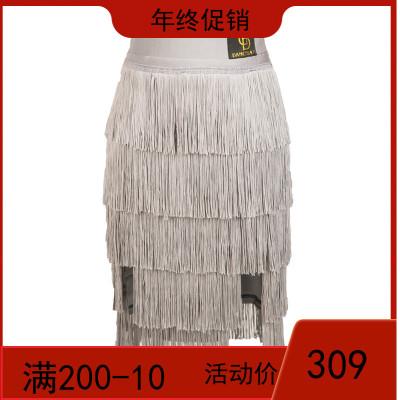 Dancebaby拉丁舞裙裤新款舞蹈练功裤 下装女成人流苏半身裙DA705