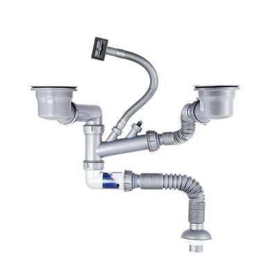 潛水艇廚房省空間靠墻款下水管水槽下水器洗碗池下水雙槽單槽 含 110提籃 廚房下水器