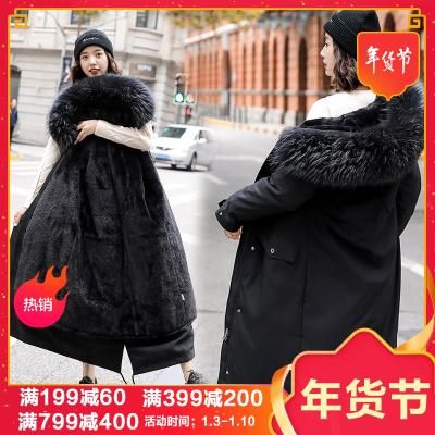 子沫雨JMOORY派克服女冬装新款棉服一衣三穿可拆卸内胆加绒加厚棉衣毛绒大衣外套中长款