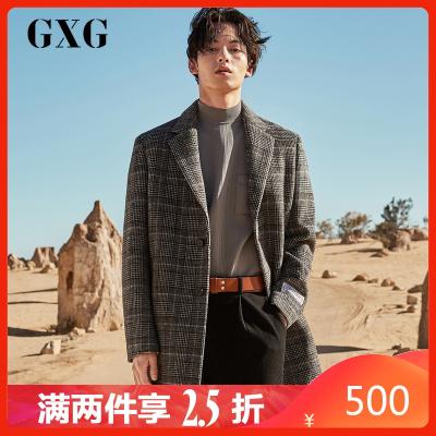 【两件2.5折价:500】GXG男装 冬季韩版时尚黑格保暖羊毛呢子外套长款大衣男