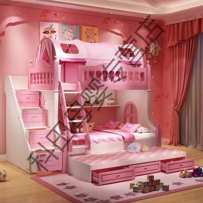 高低床雙層床兒童上下床女孩公主夢幻城堡床滑滑梯 高低床+三抽拖床+梯柜送2張床墊 1350mm*1900mm更多組合形式