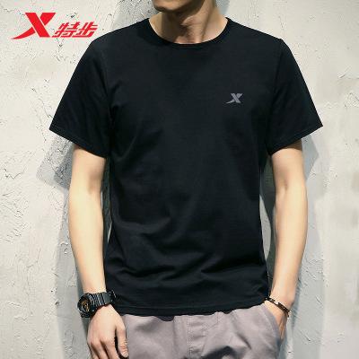 特步短袖T恤男士2020夏季跑步運動半袖健身黑色正品透氣休閑衣服運動t恤男