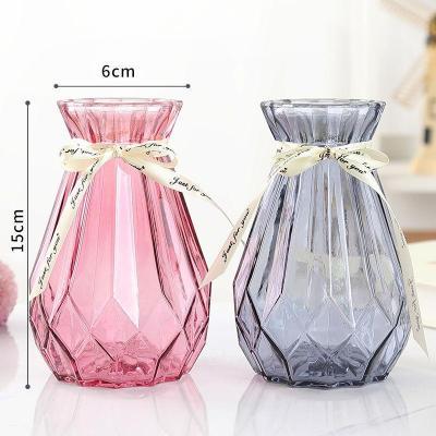 恬豆【歐式玻璃花瓶*2+絲帶】恬豆歐式創意玻璃花瓶水培綠蘿植物干鮮花插花瓶器皿餐廳客廳裝飾擺件