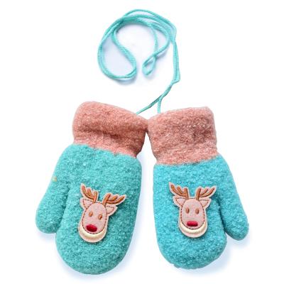 2018新款韓版針織掛脖兒童手套 冬季保暖卡通小鹿包指手套