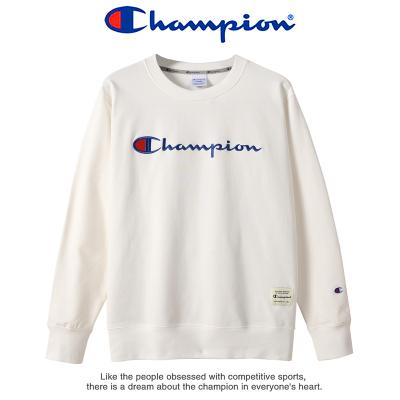 Champion 冠军圆领长袖运动衫秋冬男女士加绒加厚休闲运动卫衣情侣款潮牌卫衣女 9073