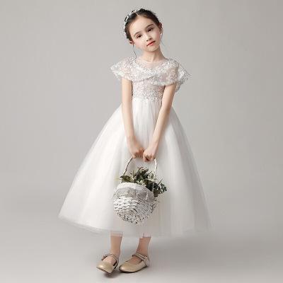 迪魯奧(DILUAO)小女孩洋氣公主裙女童白紗花童蓬蓬紗兒童晚禮服主持人鋼琴演出服2020冬季新款表演服連衣裙