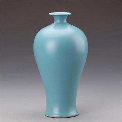 仿汝窯釉天藍梅瓶精品仿古瓷器收藏品景德鎮古董瓷器古玩復古擺件