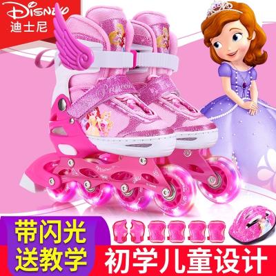 迪士尼溜冰鞋兒童全套裝3-5-6-8-10歲旱冰直排輪滑可調男女初學者