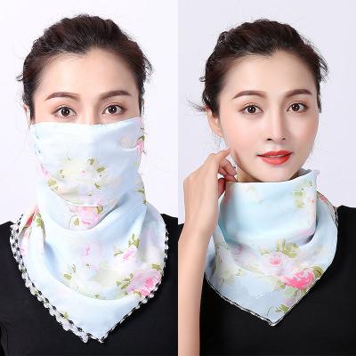 新款圍巾夏季圍脖絲巾女百搭口罩防曬薄護頸遮臉薄款面紗三角巾