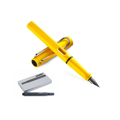 組合裝 | LAMY凌美 德國進口 狩獵系列鋼筆 黃色F尖+一次性非碳素 墨水膽筆芯5支裝