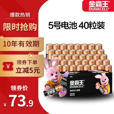 金霸王(Duracell)5号电池 40粒 碱性电池 1.5V干数码电池 适用于博朗耳温枪额体温度计算遥控器鼠标不可充电