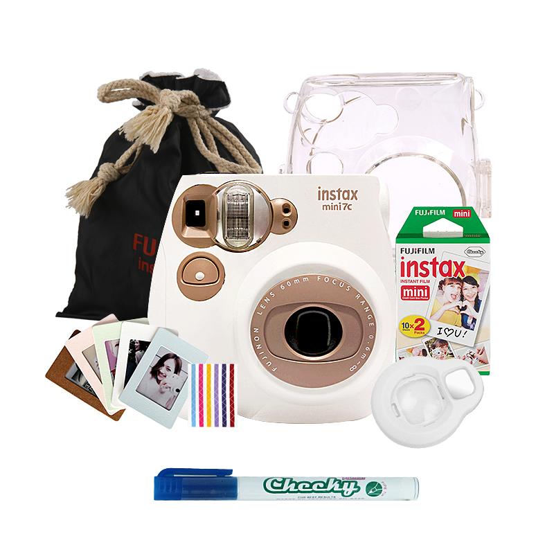 富士(FUJIFILM)INSTAX 一次成像相机立拍立得 mini7C胶片相机 奶咖色豪华套装三(含20张白边相纸)