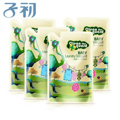子初springbuds母婴幼儿童草本洗衣液补充装500ml*4衣物洁净机洗手洗袋装有香味