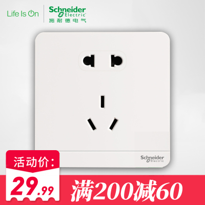 施耐德电气(Schneider Electric)二三插五孔插座 电源插座 86型10A 绎尚镜瓷白