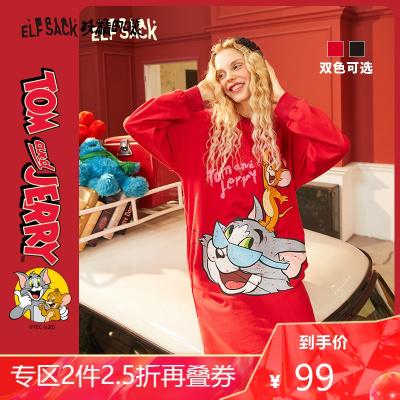 【猫和老鼠联名】妖精的口袋红色卫衣连衣裙2020夏季新款女裙子潮_378