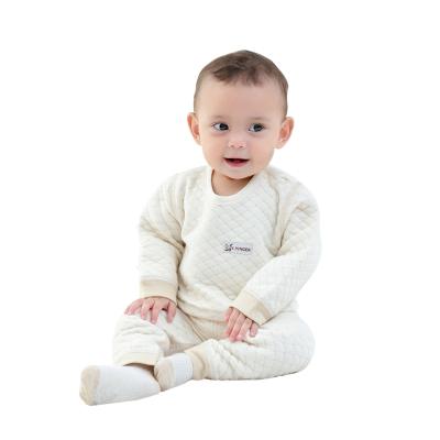 亿婴儿 彩棉婴儿保暖内衣肩开扣套装秋冬加厚新生儿衣服2275