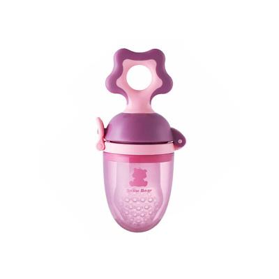 小白熊婴儿食物咬咬袋/宝宝磨牙咬咬训练器 6个月以上粉紫09090
